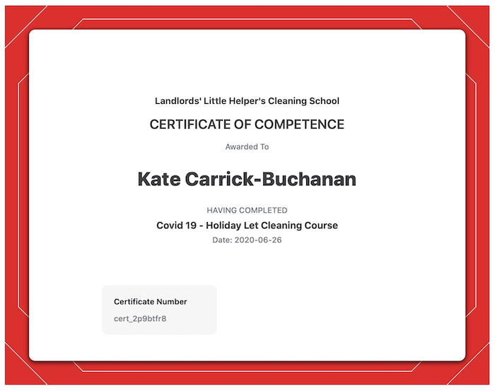 Certificate of confidence